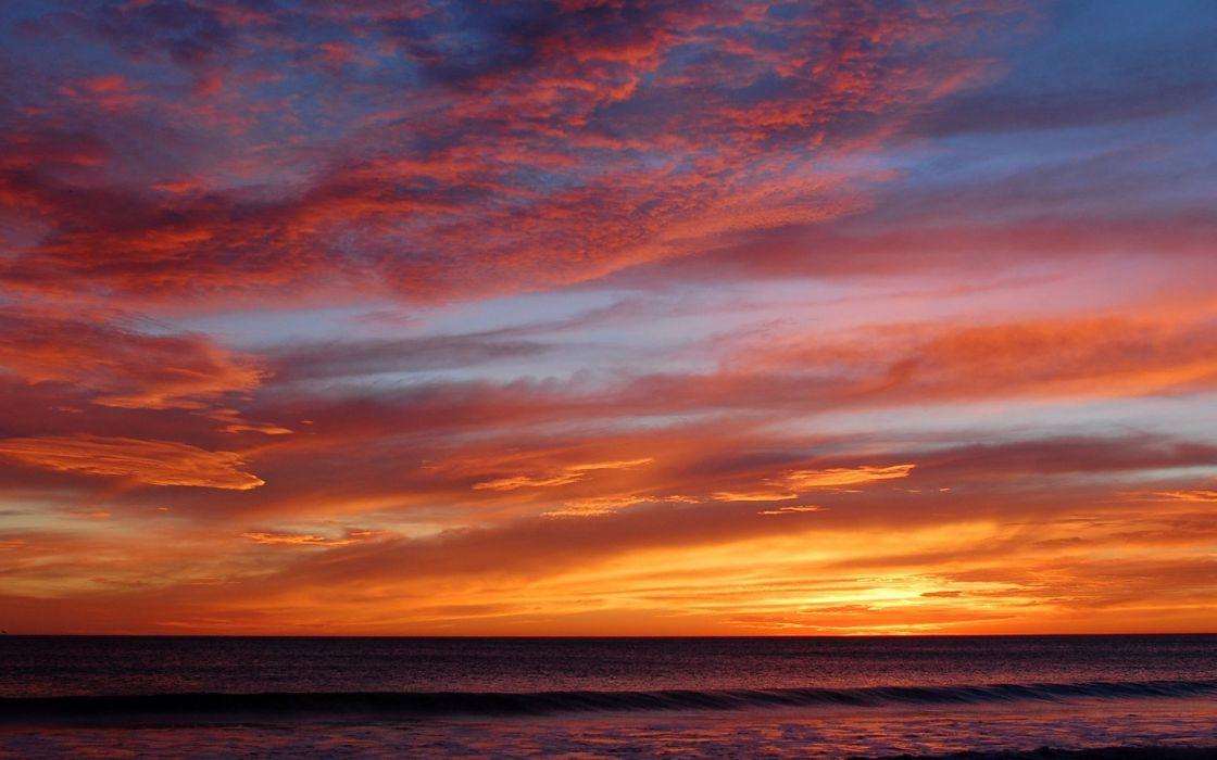 spectacular sunset sky clouds sea ocean beach summer wallpaper