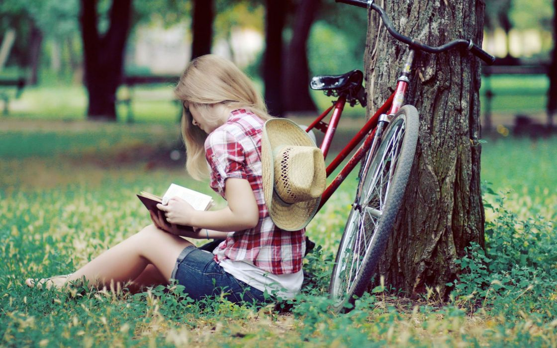 The Girl Read A Book Written Biking Nature Tree Grass Blonde