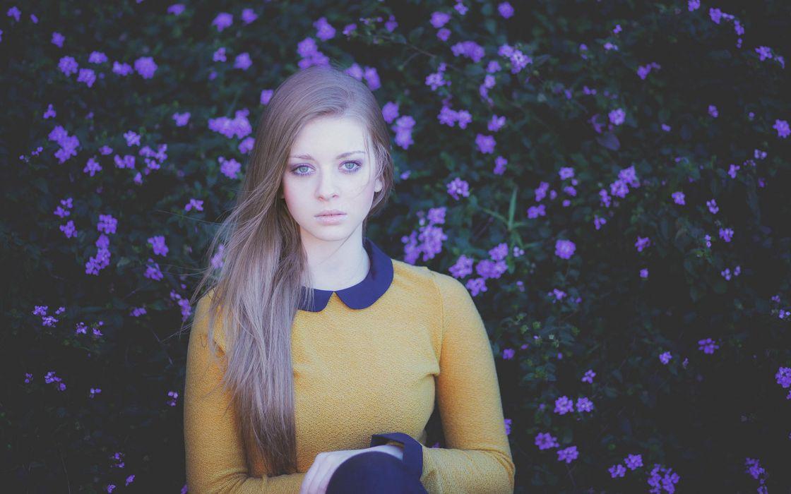 green eyes yellow dress blond beauty beautiful girl female flowers wallpaper