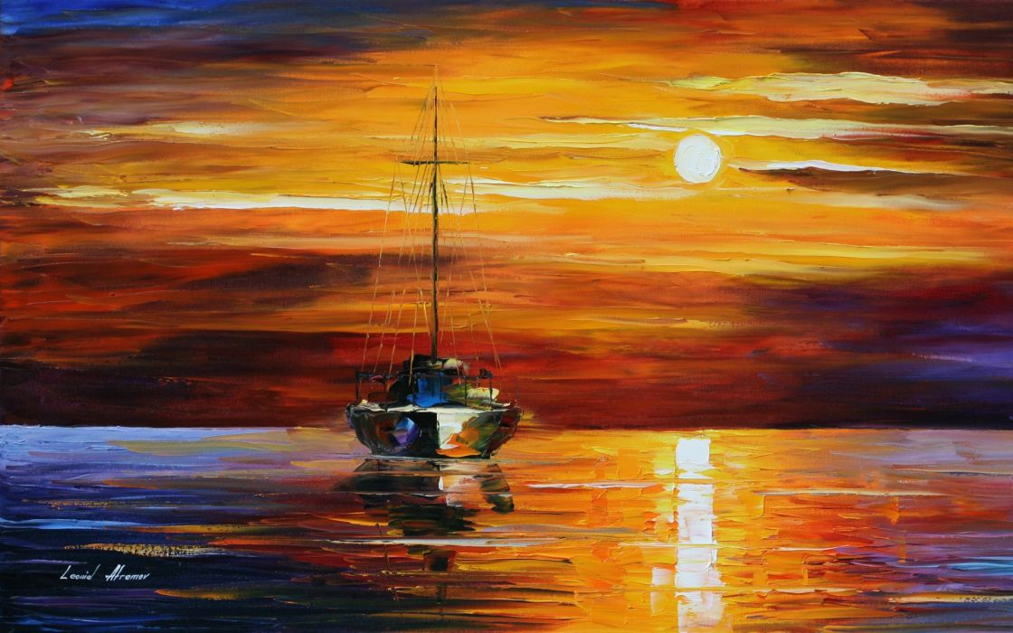 oil paintings art ship sun beauty sky red colors yellow sea wallpaper
