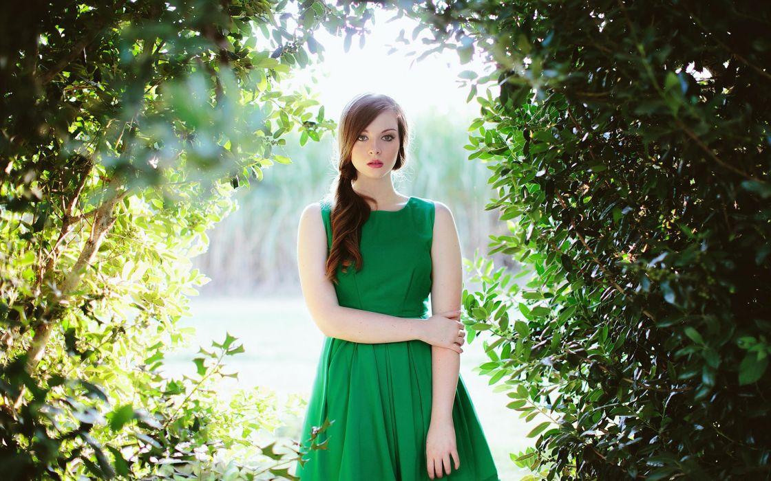 green dress beautiful girl female forest nature long hair wallpaper