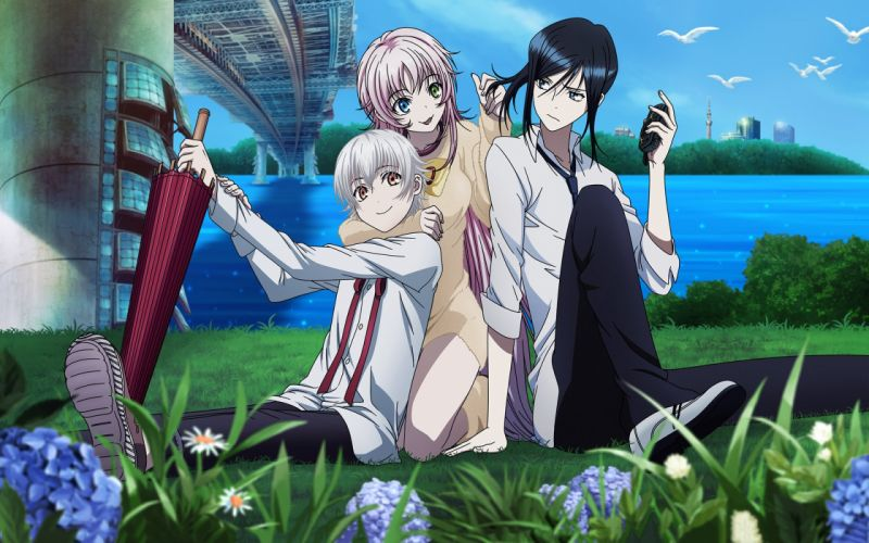 anime series characters groups friend girls flower wallpaper