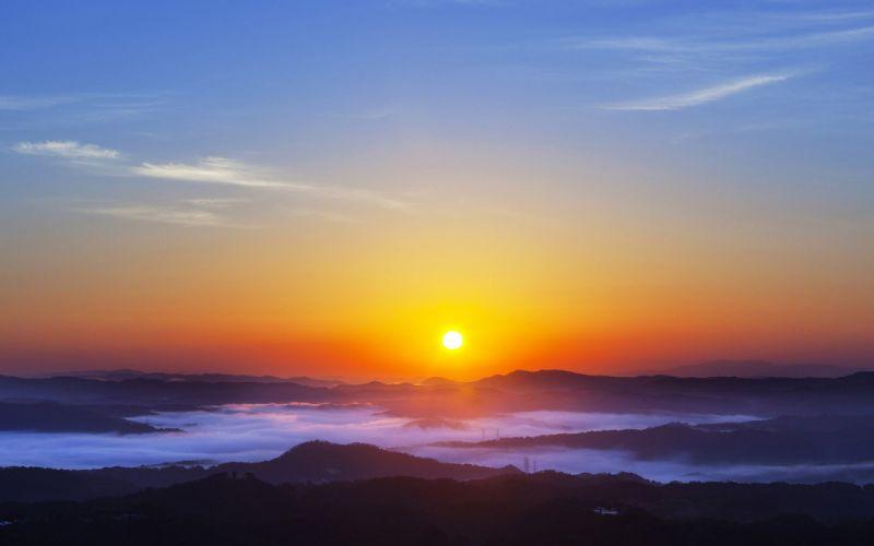 sunset sunrise mountain fog landscape beach beauty sky clouds wallpaper