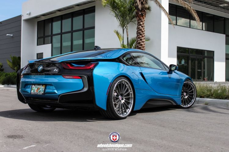 BMW-i8 cars electric coupe blue wheels hre wallpaper