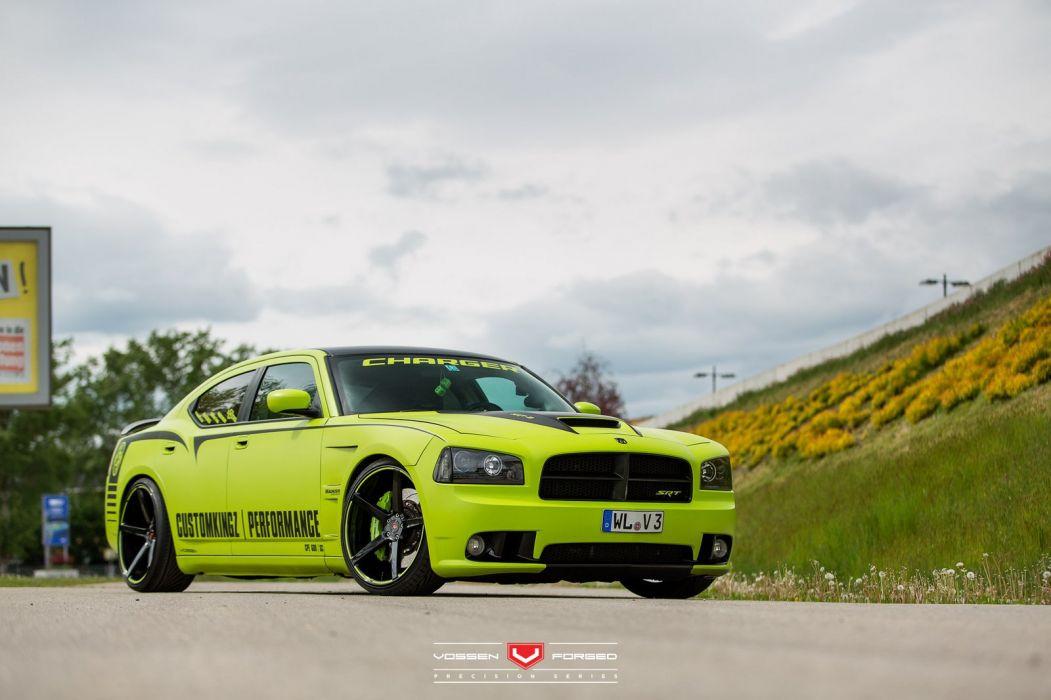 Custom Kingz Dodge Charger SRT8 cars Vossen Wheels wallpaper