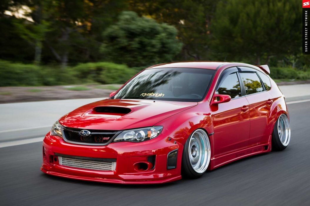 2009 Subaru STI Hatchback red cars modified wallpaper