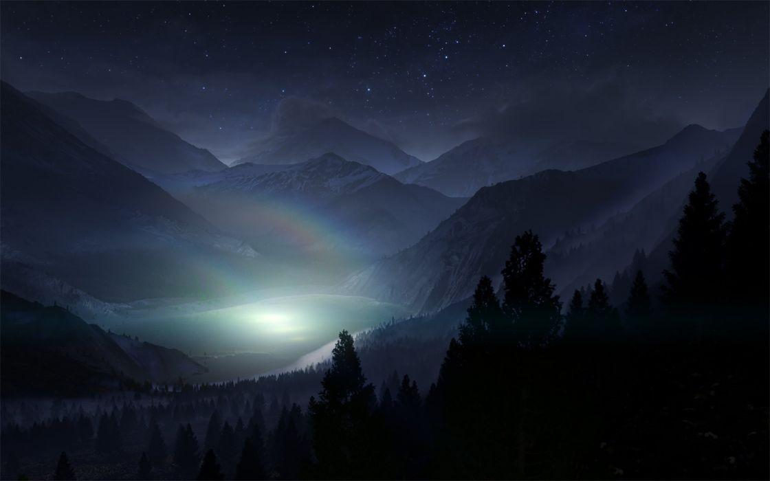 night mountain  wallpaper