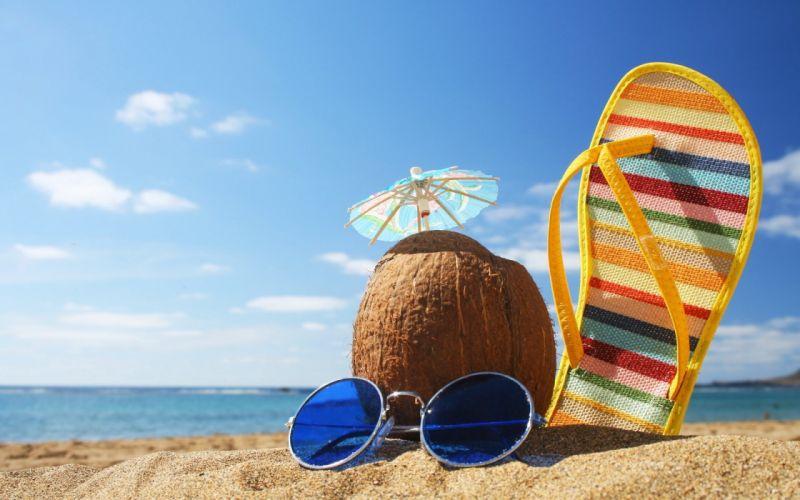 chancla sombrilla gafas coco playa mar wallpaper