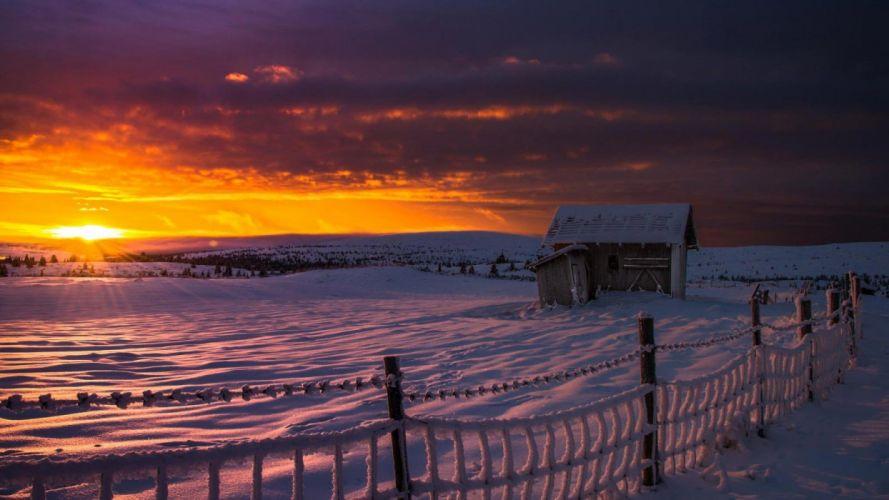 amazing beautiful landscape nature sky clouds sunset winter snow wallpaper