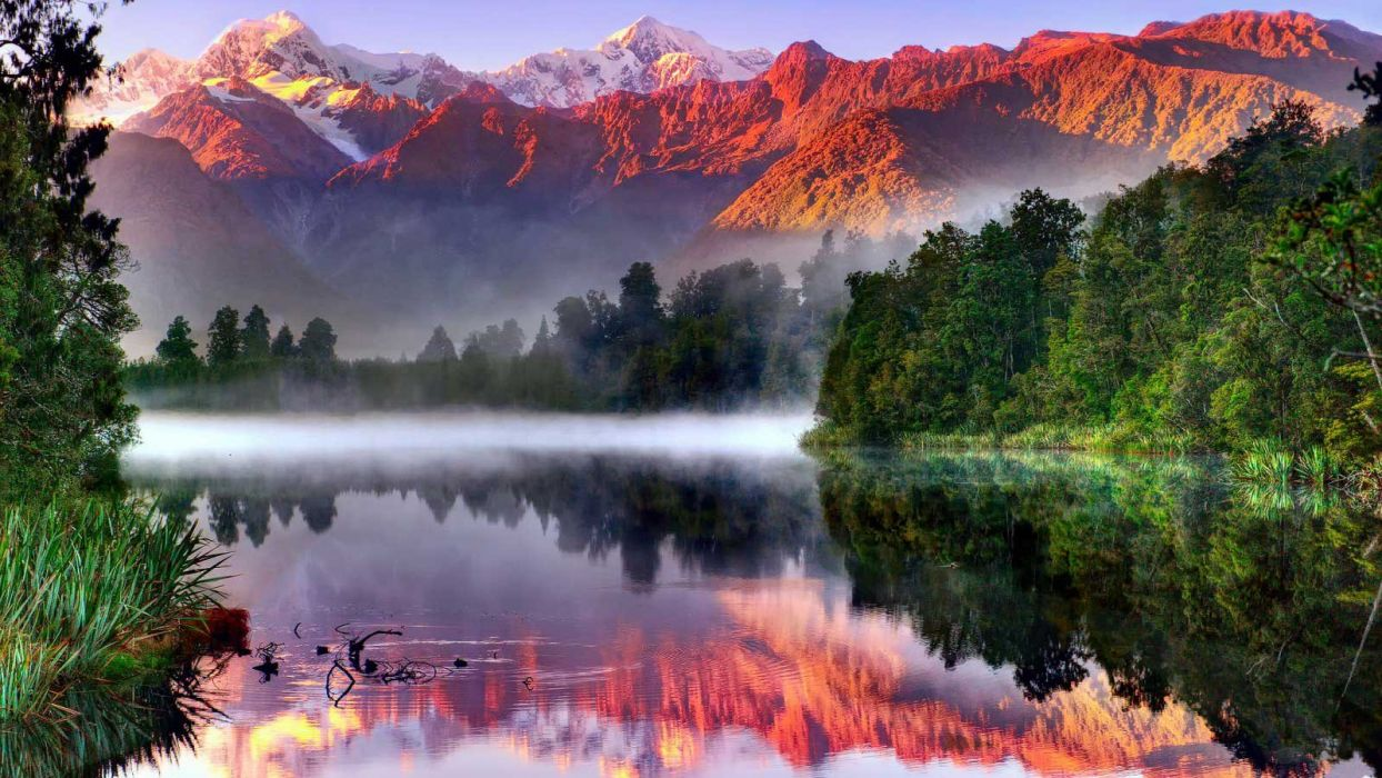amazing beautiful landscape nature sky clouds tree lake forest fog mountain wallpaper