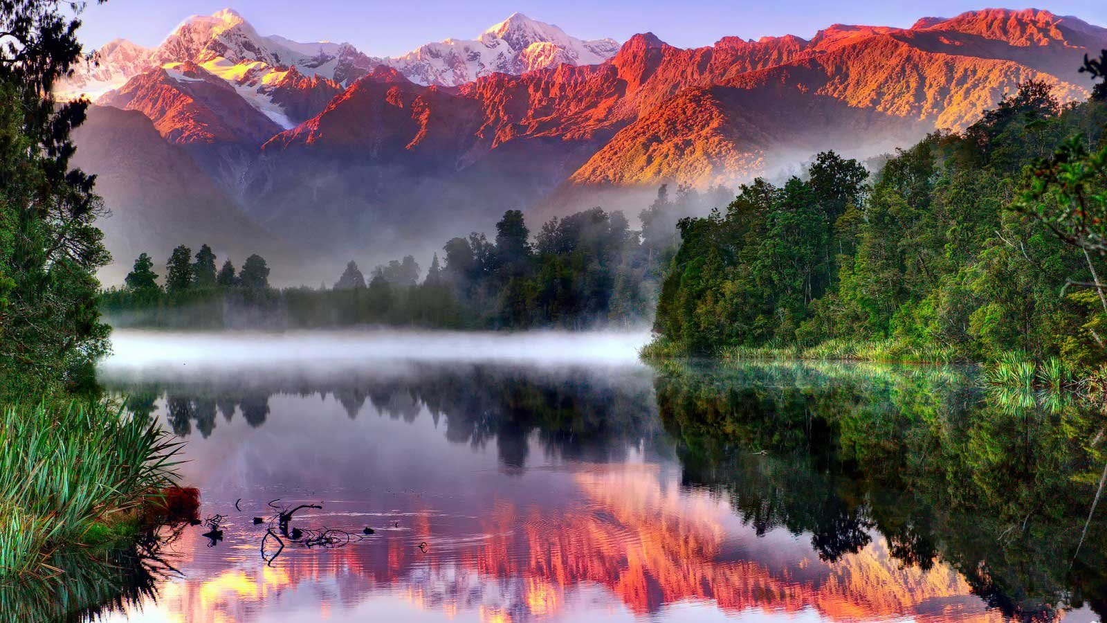 Messages >> Amazing beautiful landscape nature sky clouds tree lake forest fog mountain wallpaper | 1600x900 ...
