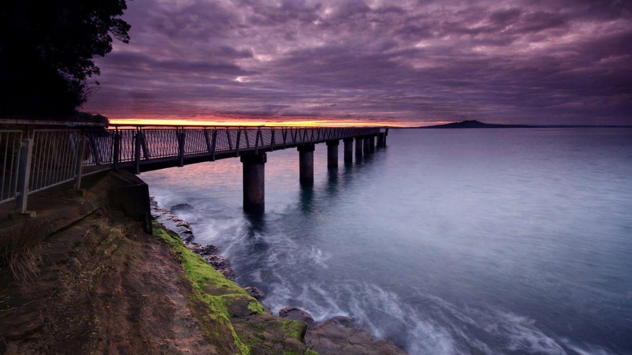 amazing beautiful landscape nature sky clouds sunset bridge beach wallpaper