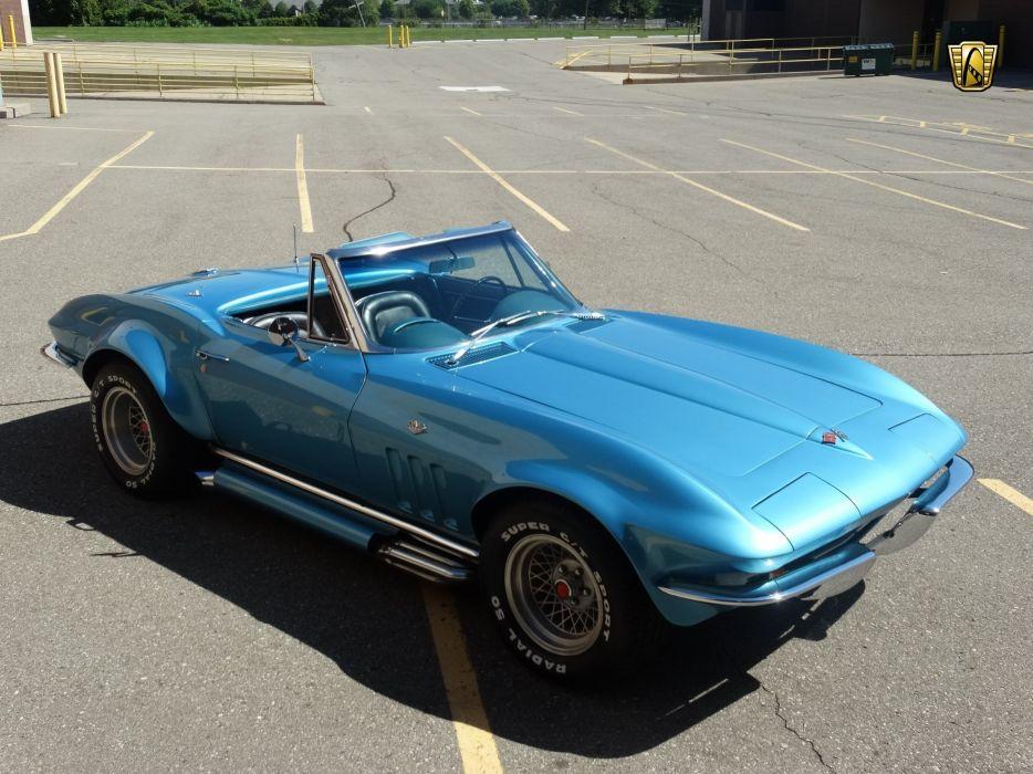 1965 (c2) Chevrolet chevy blue corvette convertible classic cars wallpaper