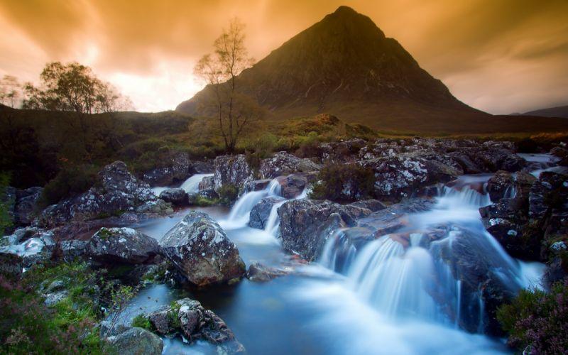 nature landscape beauty beautiful sky mountain waterfall wallpaper