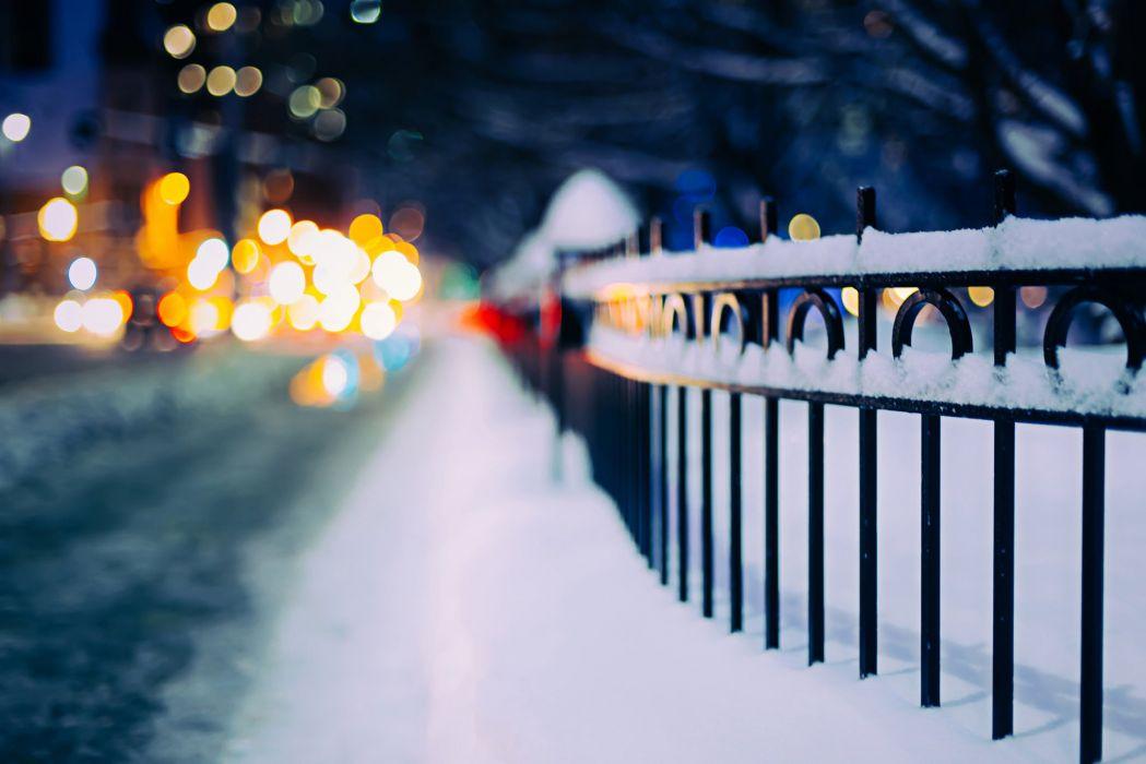 city bokeh winter snow beauty wallpaper
