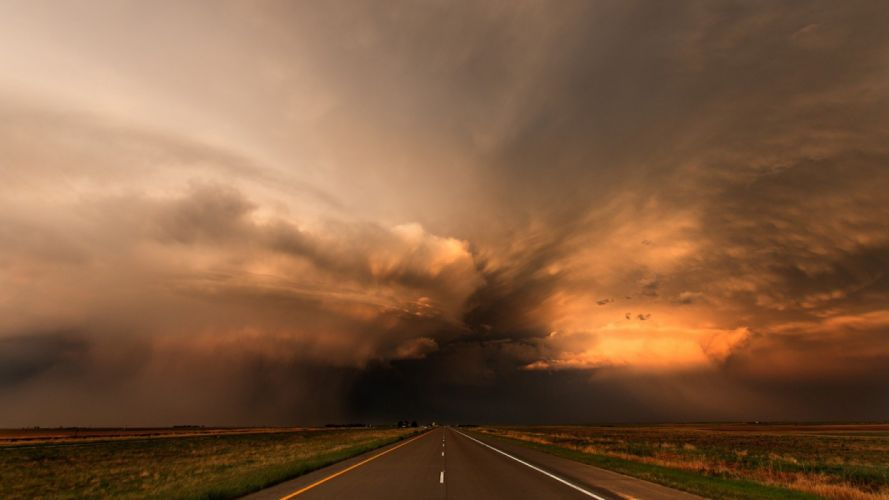 nature landscape beauty beautiful sky clouds road storm wallpaper