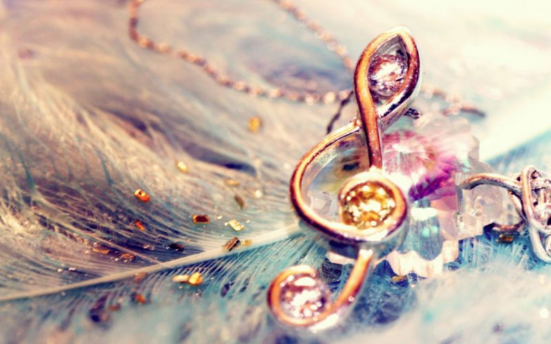 treble clef music note feather wallpaper