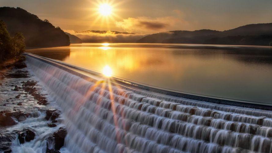 nature landscape beauty beautiful sky mountain waterfall sun wallpaper