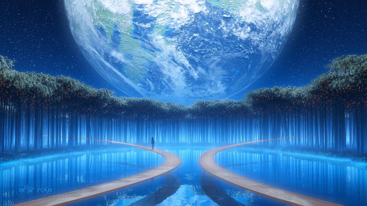 Earth fantasy girl woman tree blue beautiful water wallpaper