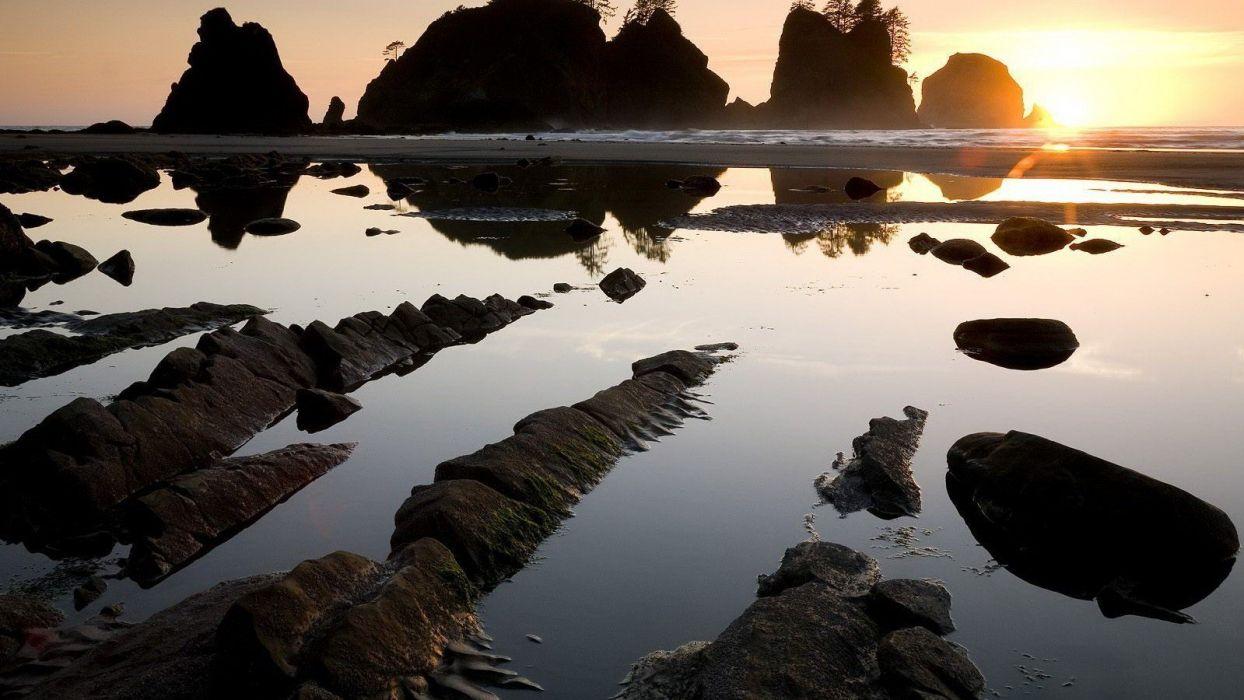 nature landscape beauty beautiful sky sun beach rocky wallpaper