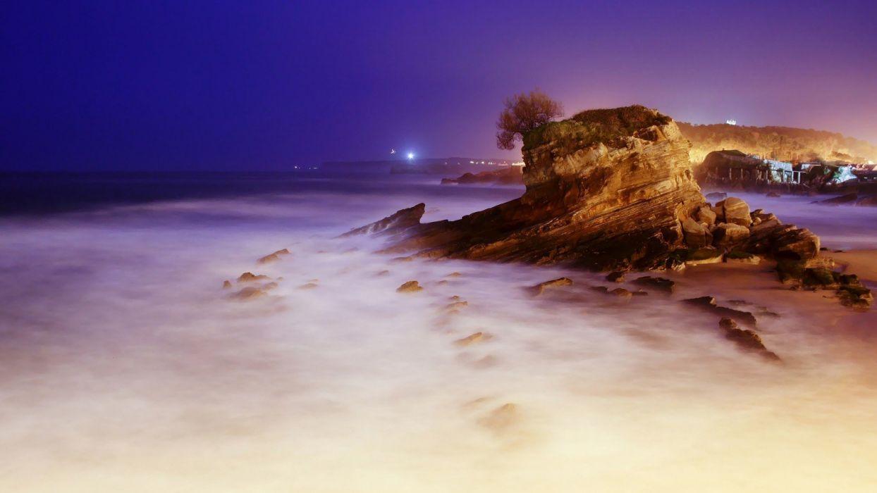 nature landscape beauty beautiful sky beach fog city light rocky wallpaper