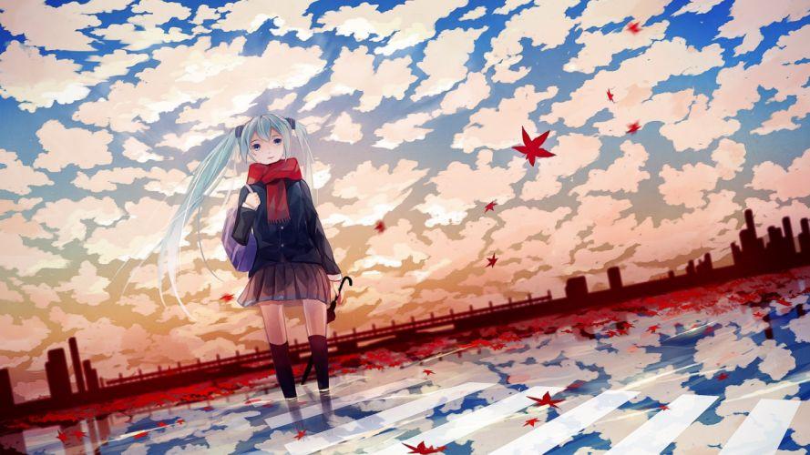 anime leaves winter girl cute long hair wallpaper