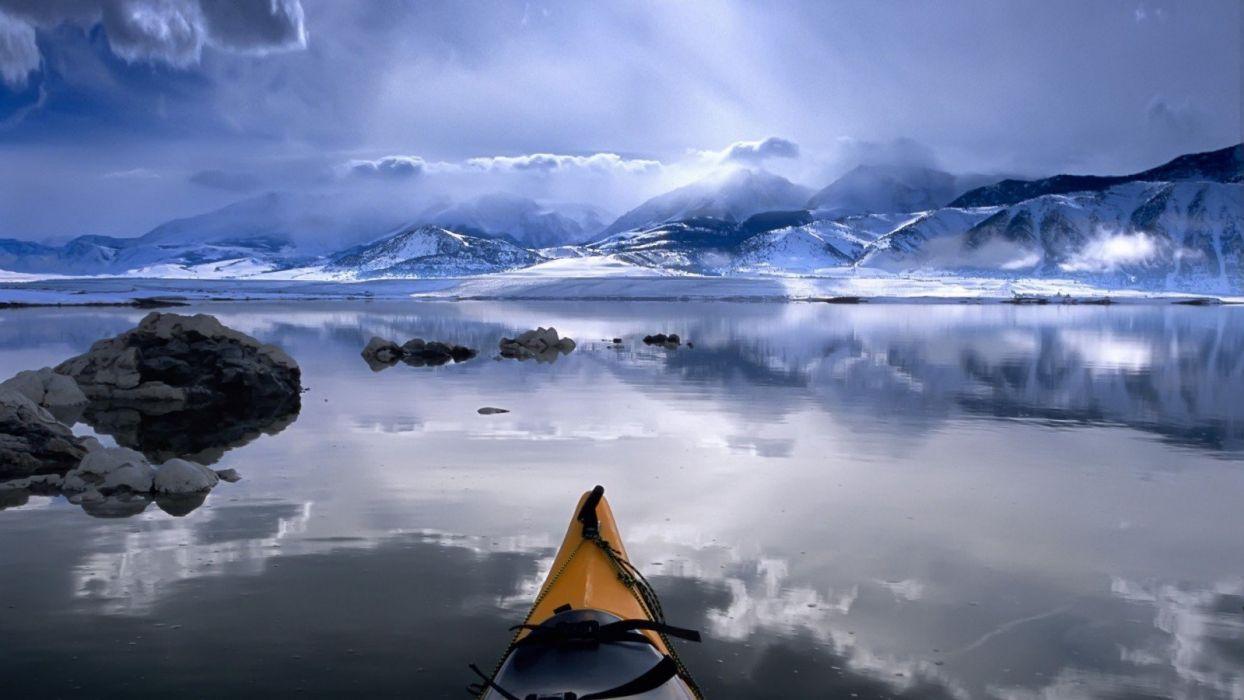 nature landscape beauty beautiful sky mountain boat river wallpaper