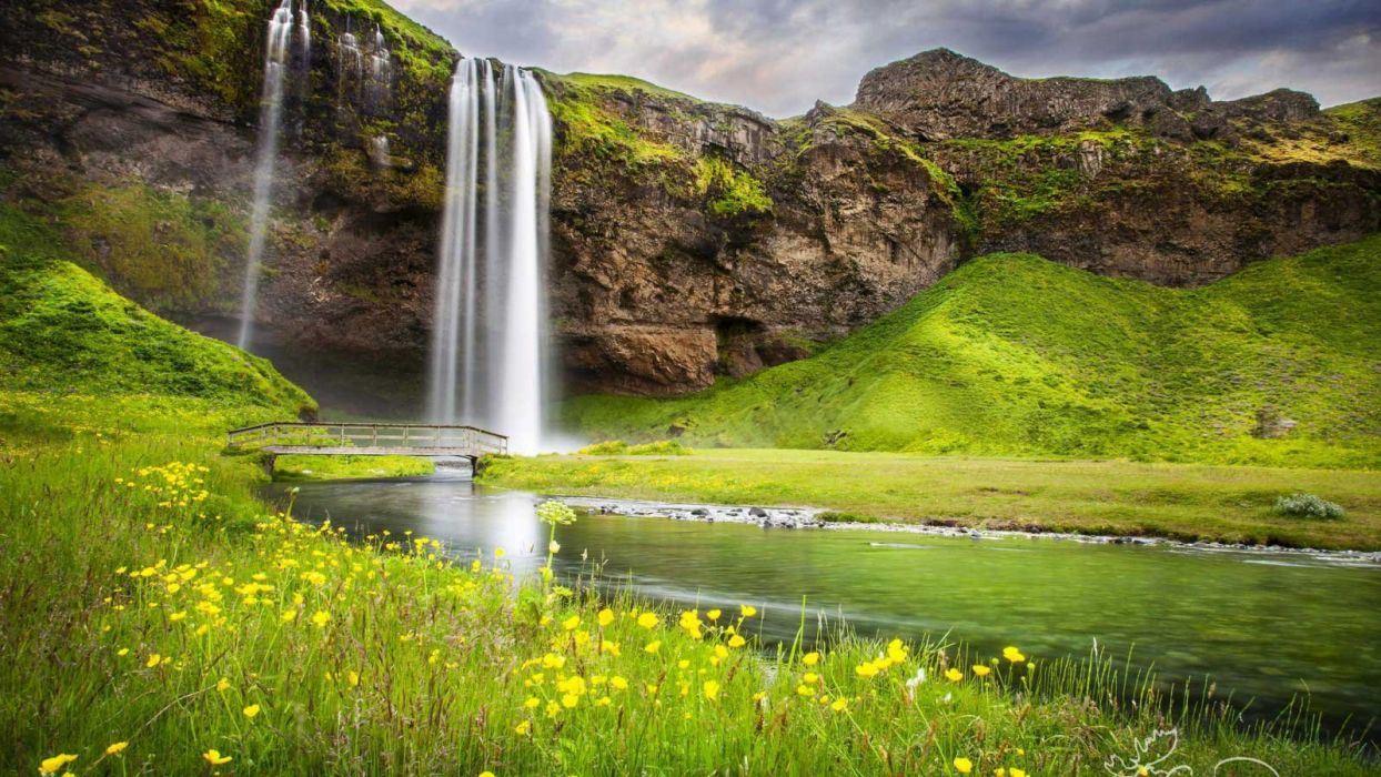 nature landscape beauty beautiful sky waterfall flower grass bridge wallpaper