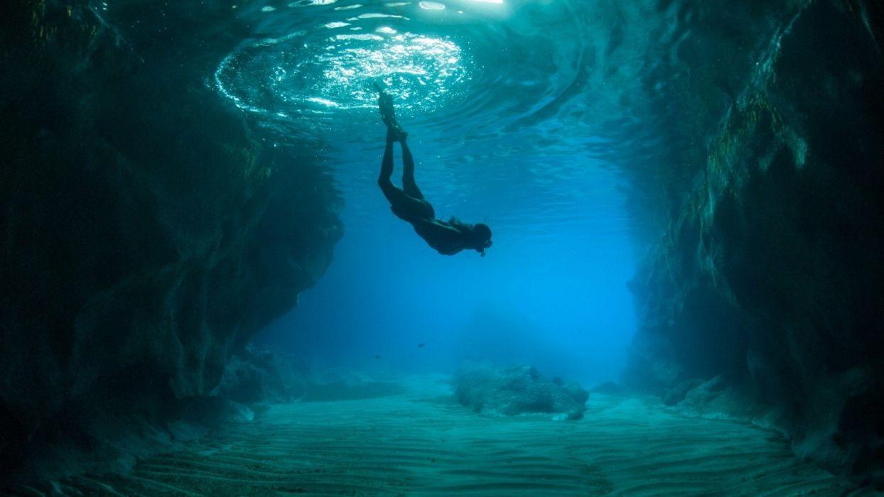 diver girl nature beauty beautiful sea ocean wallpaper