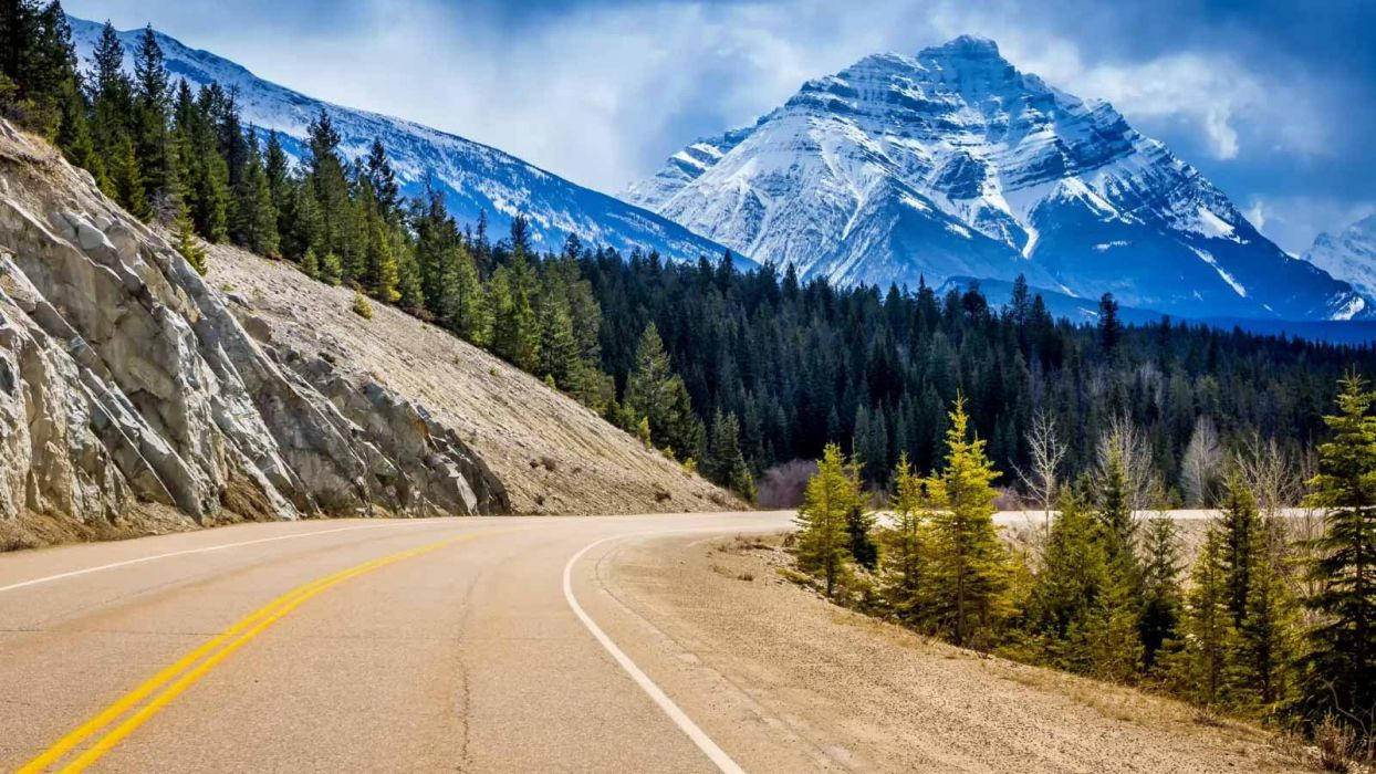Nature Landscape Beauty Beautiful Sky Mountain Tree Road Wallpaper