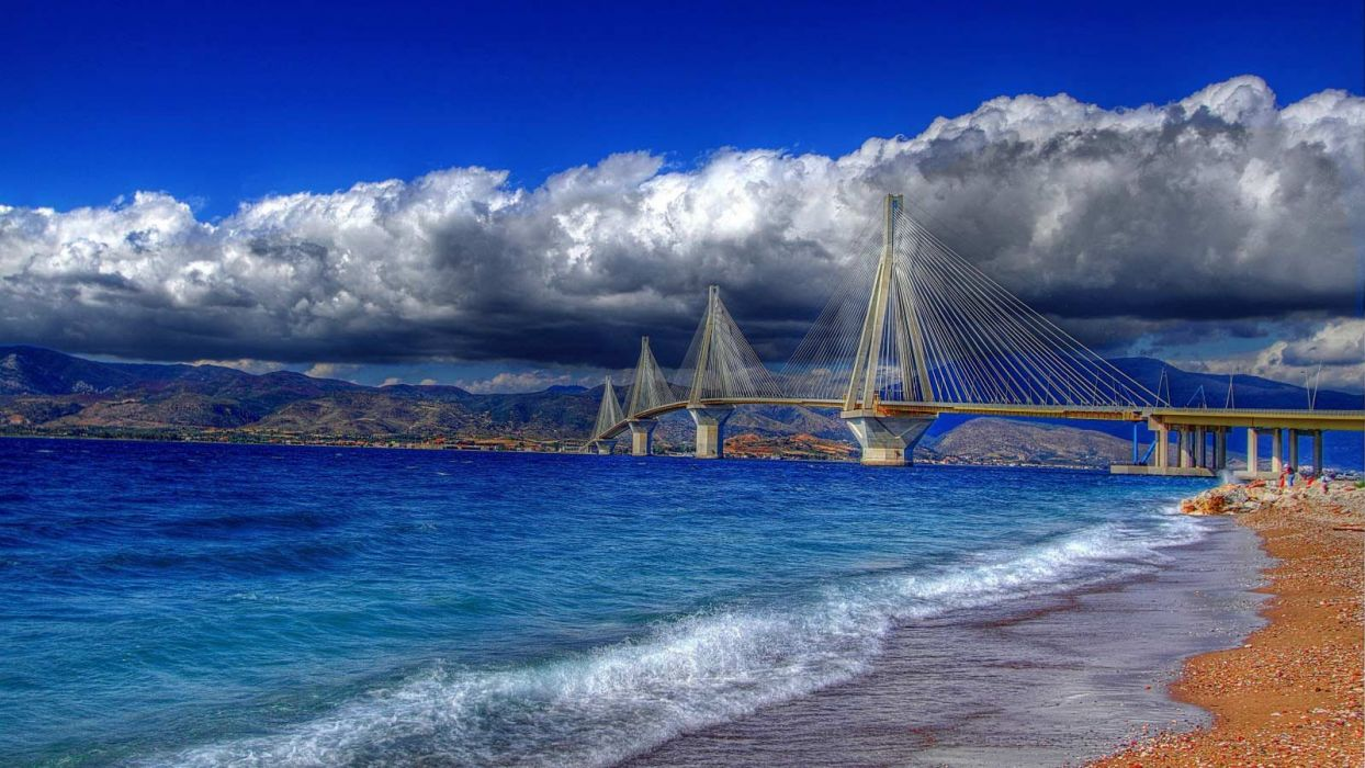 bridge sea ocean beach nature beauty sky clouds blue wallpaper