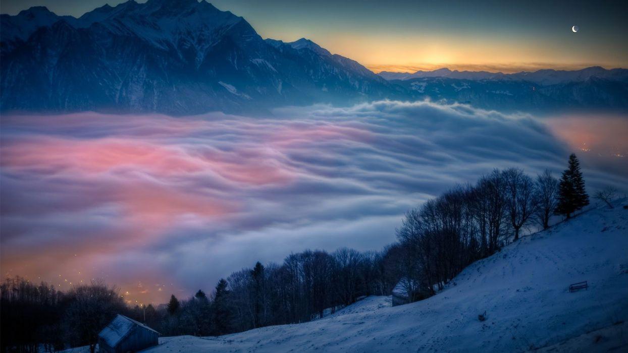 nature landscape beauty beautiful sky mountain city light fog wallpaper
