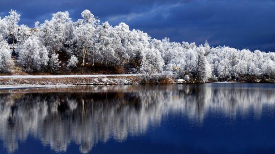 nature landscape beauty beautiful sky tree snow winter lake forest wallpaper