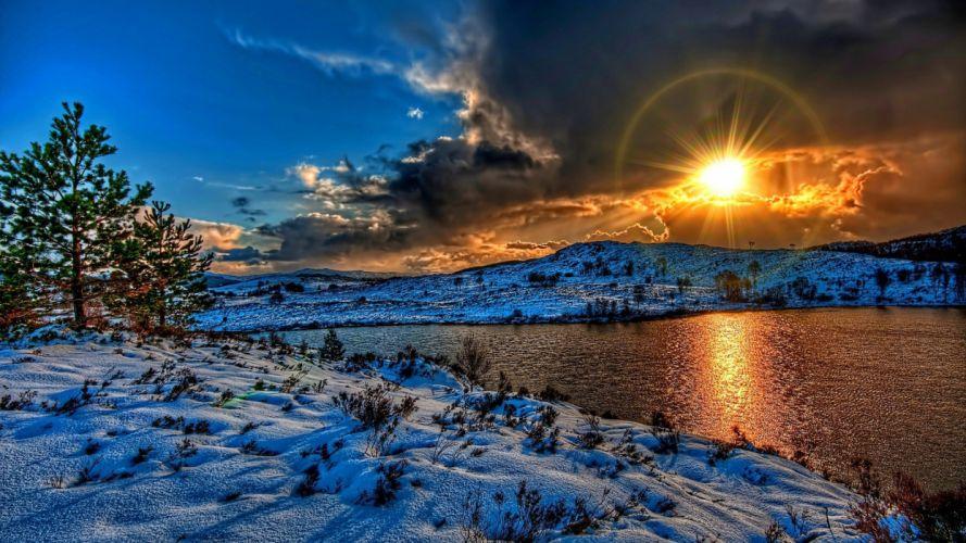 Nature Magnificent Sunset Over River Winter sun beauty wallpaper