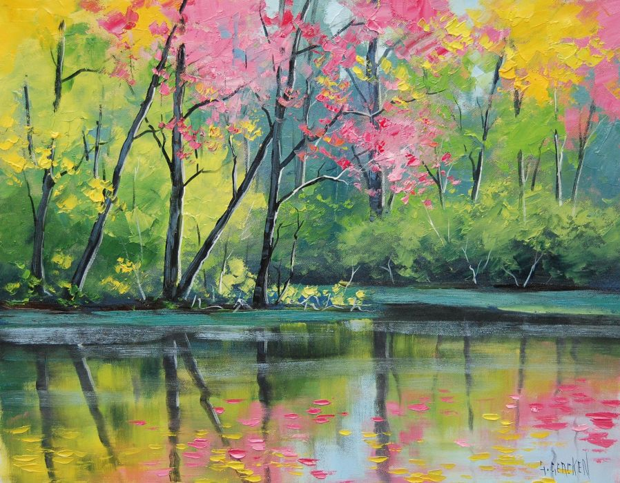 River Colors painting art tree wallpaper