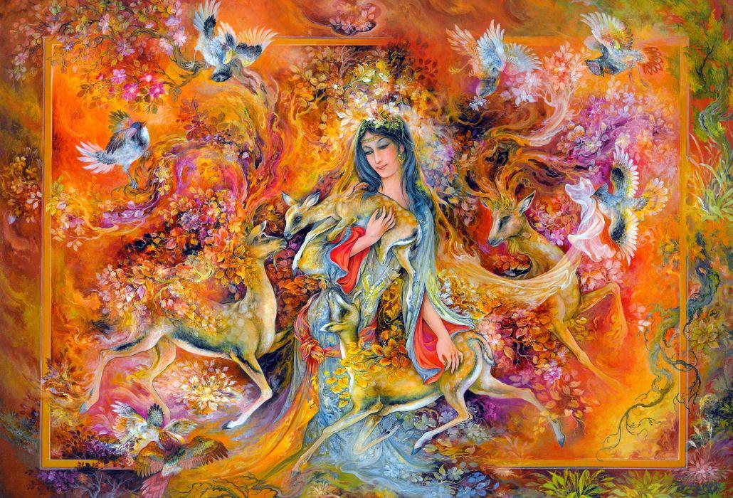 painting colors love art woman deer cute beauty beautiful bird princess wallpaper