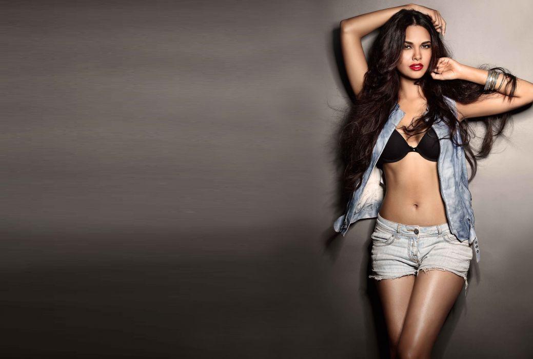 Esha Gupta bollywood actress model girl beautiful brunette pretty cute beauty sexy hot pose face eyes hair lips smile figure indian  wallpaper
