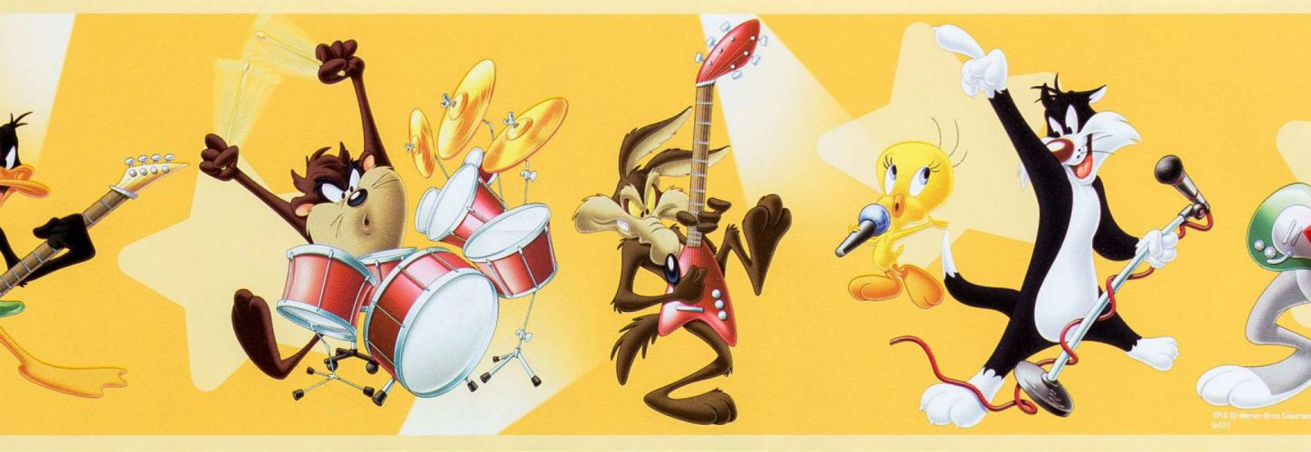 LOONEY TUNES humor funny cartoon family Merrie Melodies guitar drums wallpaper