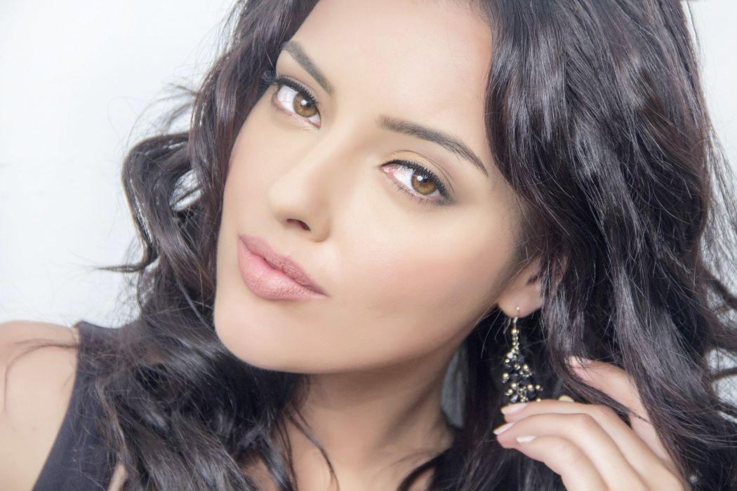 kristina akheeva bollywood actress model girl beautiful brunette pretty cute beauty sexy hot pose face eyes hair lips smile figure wallpaper