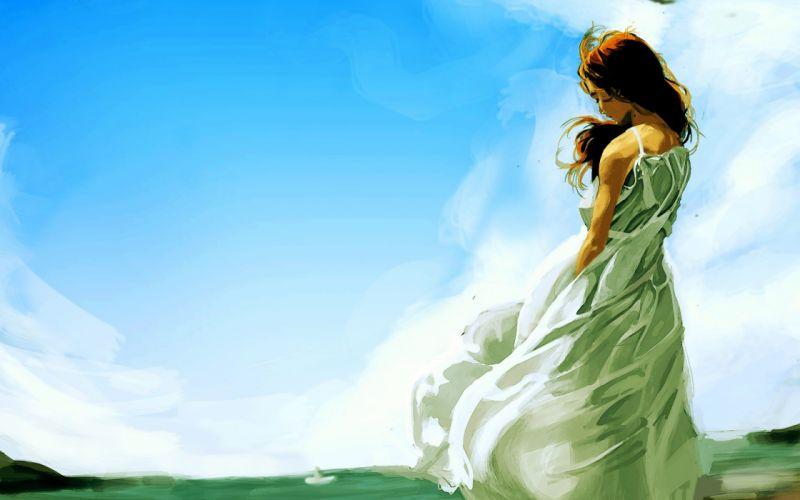 mujer sola arte pintura wallpaper
