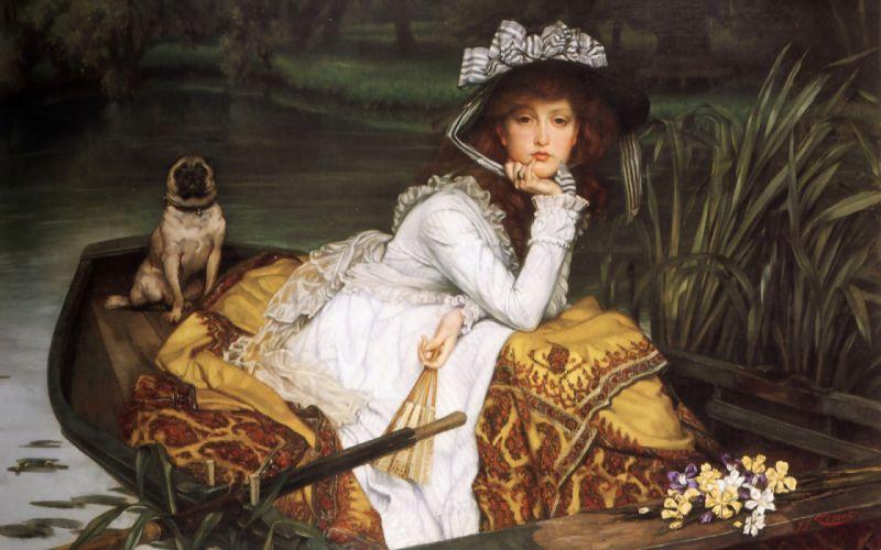dama en barca arte pintura wallpaper