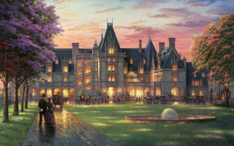 mansion jardin arte pintura wallpaper