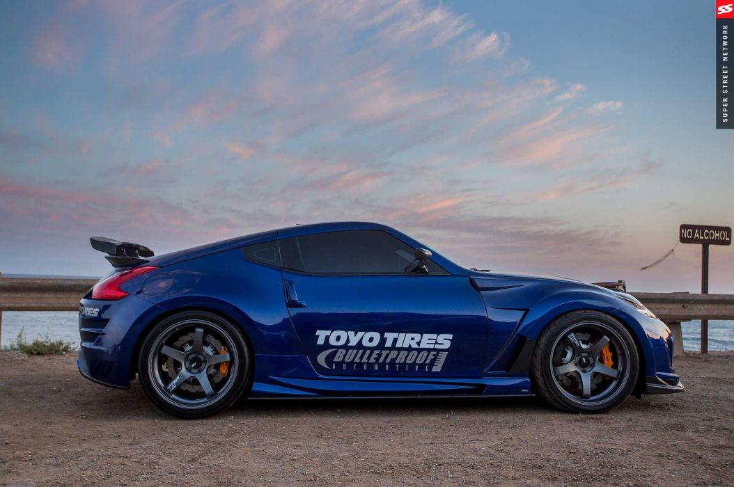 2009 Nissan 370Z coupe blue cars modified wallpaper