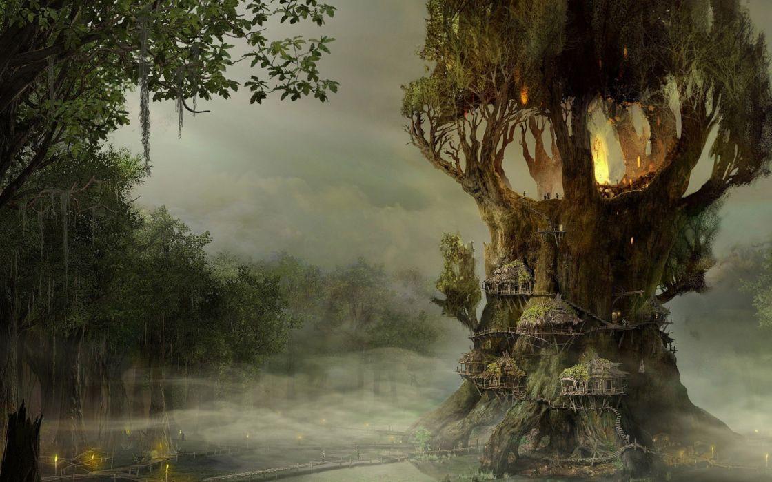 arbol magico fantasia wallpaper