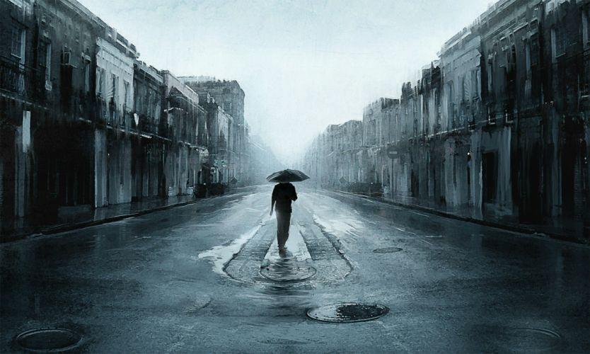 depression sad mood sorrow dark people love rain wallpaper