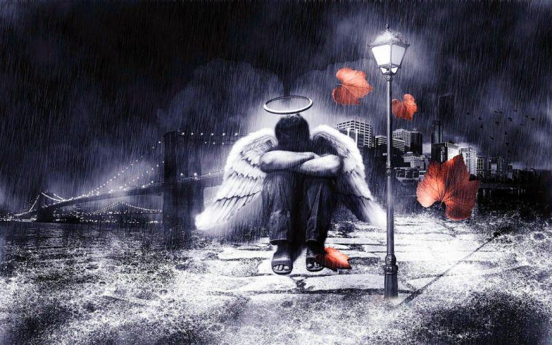 depression sad mood sorrow dark people love angel fantasy wallpaper