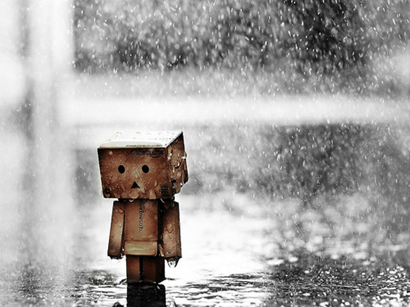 Sad mood sorrow dark people love danbo rain drops wallpaper