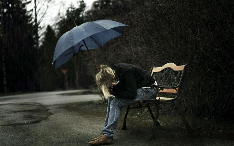sad mood sorrow dark people love rain drops umbrella wallpaper