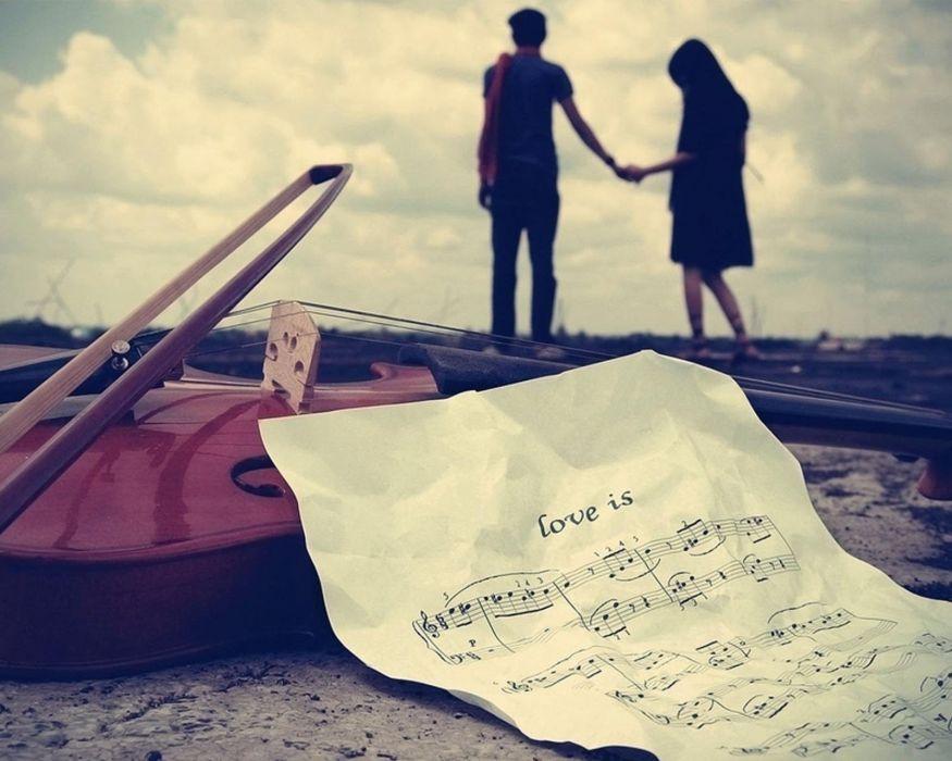 couple love mood people men women violin music wallpaper