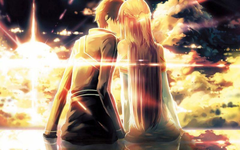 couple love mood people men women kissing anime artwork fantasy wallpaper